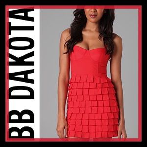 BB Dakota Red Bustier & Pleated Mini Dress